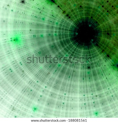 Abstract fractal background with a large black hole in the middle partly behind a solid mass with a decorative grid pattern in the upper right corner, all in dark green color #188081561