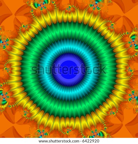 Abstract fractal bullseye in bright vivid colors.