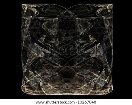 Abstract fractal design resembling a glass vase or a clear, plastic, decorated bag filled with ice and water