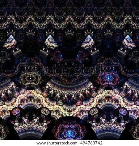 Abstract Fractal Elegant Filigreed  Pattern Arabesque Background - Fractal Art