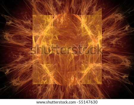 Abstract Fractal Fantasy Background in Red and Gold on Black
