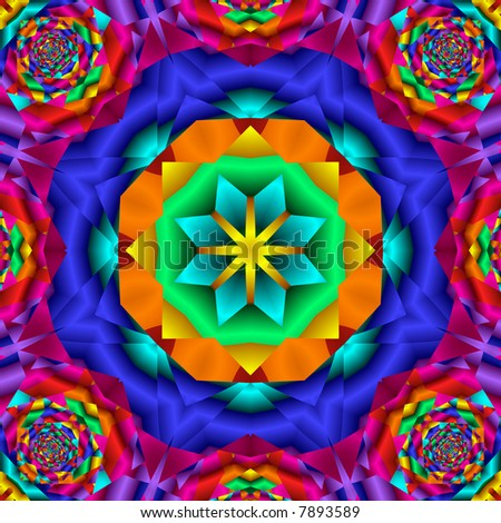 Abstract fractal kaleidoscope in bright rainbow colors.