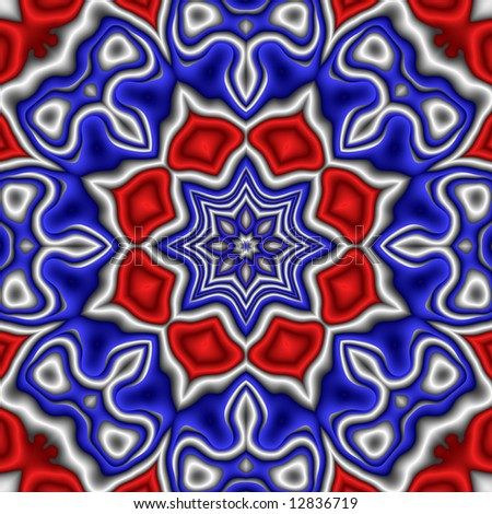Abstract fractal kaleidoscope in patriotic red, white and blue.