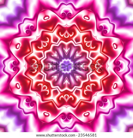 Abstract fractal kaleidoscope in pink, red and purple.