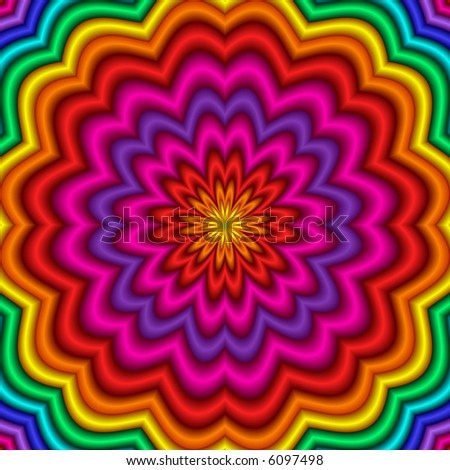 Abstract fractal kaleidoscope in rainbow colors.