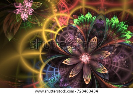 Abstract fractal patterns and shapes. Dynamic flowing natural forms. Magic flowers. Mysterious psychedelic relaxation pattern. Sacred geometry.