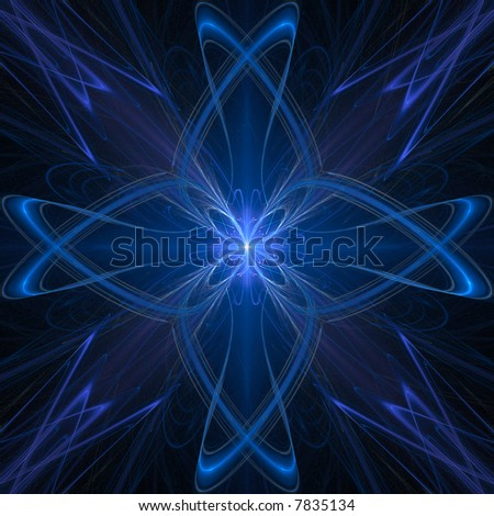 Abstract fractal star blue background over black