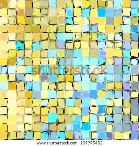 abstract fragmented pattern in blue yellow
