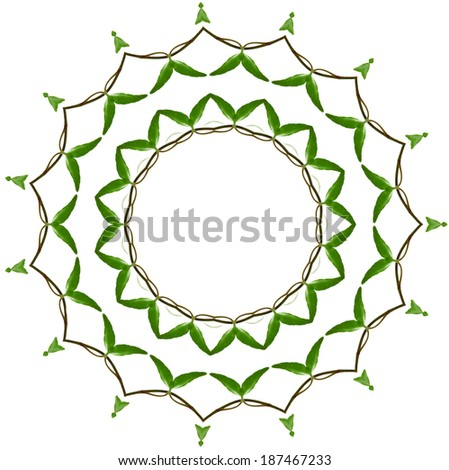 Abstract frame decor of green leaves isolated on white background
