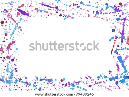 Abstract frame with colorful watercolor splashes isolated on white