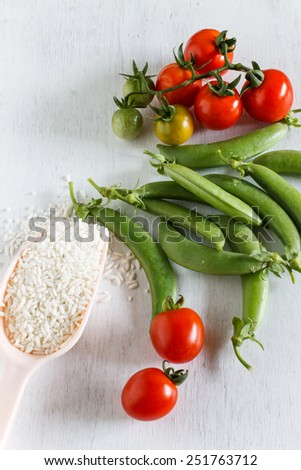 Abstract fresh organic vegetables on white wooden. Food background. Healthy food from garden