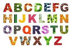 Abstract fruit and vegetable alphabet ABC