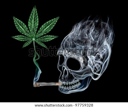 Abstract fumes shaped as skull smoking joint with marijuana leaf rising from it. - stock photo