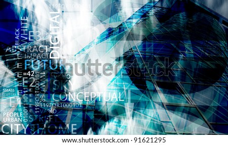 abstract future conceptual background with many words