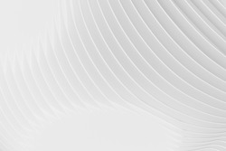 Abstract Futuristic Architecture Circular Concentric Background. Wave Outdoor Structures. Minimal Futuristic Technology Design as Geometric Urban Texture Wallpaper. Close-up 3d Rendering Pattern