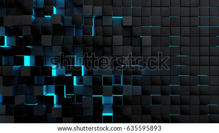 Stock Photo Abstract futuristic cubes shape background, 3d render illustration