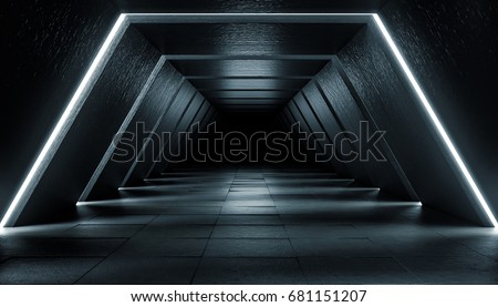 Abstract Futuristic dark corridor interior design. Future concept. 3D Rendering