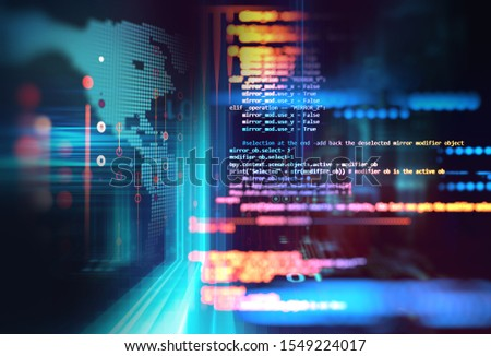 Abstract  Futuristic infographic with Visual data complexity , represent Big data concept, node base programming