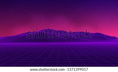 Abstract futuristic landscape 1980s style. illustration 80s party background . 80s Retro Sci-Fi background.