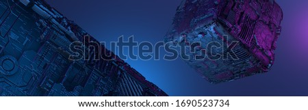 Photo of  Abstract futuristic metal cube. Science fiction block design. 3D rendering