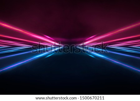 Abstract futuristic neon tunnel Dark room fluorescent bright purple and pink neon glow Virtual background space corridor shape tunnel