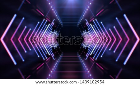 Abstract Futuristic Technology concept. Neon Hexagon Tunnel modern background. Fluorescent ultraviolet glowing light lines.