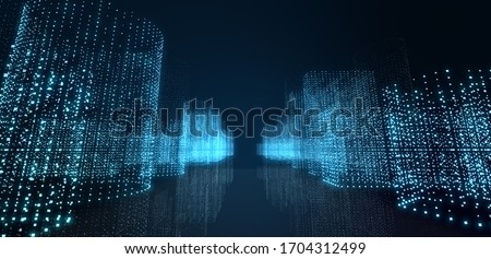 Abstract futuristic -  technology with polygonal shapes on dark blue background.  Design digital technology concept. Illustration. 3d rendering.  Stock photo ©