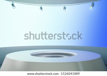 Foto mural Abstract futuristic warp pedestal in room with copy space. Future and design concept. Mock up,  3D Rendering