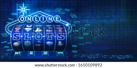 Abstract gambling concept image for online casinos offering for play a wide variety of slots games. 3D illustration showing wire-frame style computer generated slots reels and a neon sign.