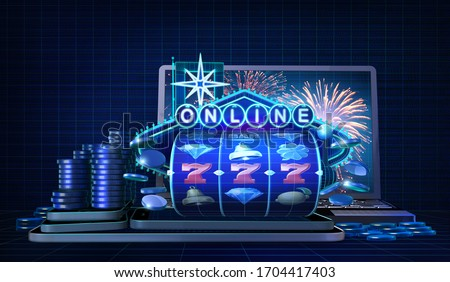 Abstract gambling concept image for online casinos offering for play mobile slots games. 3D illustration with wireframe style computer generated 3-reels slot and a neon sign