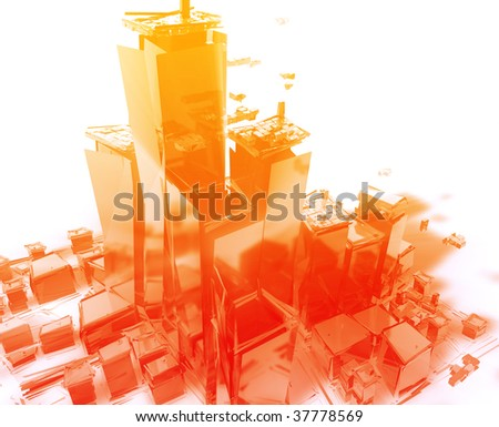 Abstract generic city with exploding breaking apart illustration