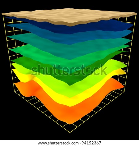 abstract geology layers scheme, 3d render isolated on black