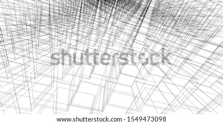 Abstract geometric architectural background, 3D Illustration, Modern architecture wireframe.