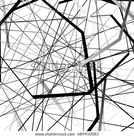 Abstract geometric art with random, scattered shapes