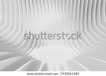 Abstract geometric background. 3d illustration of white curves with free space in center
