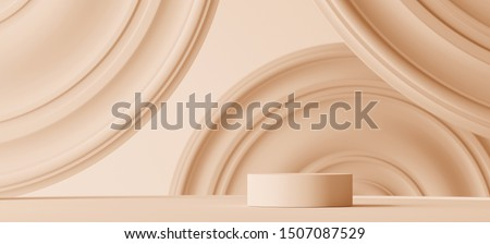 Abstract geometric background for branding and packaging presentation. Podium and circular molding on beige background. 3d rendering illustration.