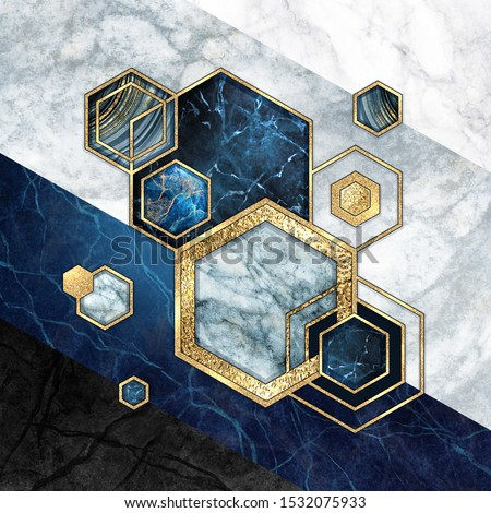 abstract geometric background, hexagonal shapes. Modern marble mosaic inlay, art deco wallpaper. Geometrical fashion illustration. Blue gold black honeycomb with artificial stone texture.