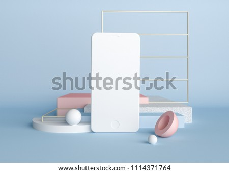 Abstract geometric background in blue and pink colors. Concept of modern smartphone in 3d render illustration. Fashion and trendy mockup with spheres and cubes. Empty space for design presentation.