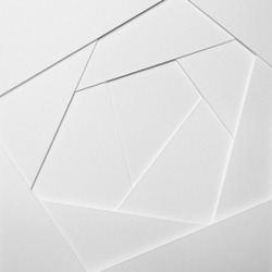 Abstract geometric background in light tones from sheets of thick white paper, cardboard. Suitable as design element, separate project for your project, cover for website. Square orientation.