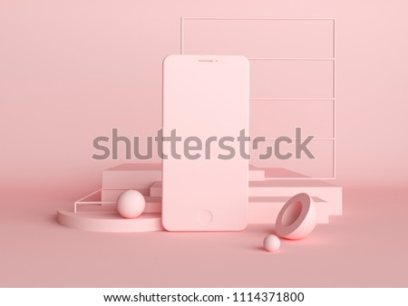 Abstract geometric background in pink color. Concept of modern smartphone in 3d render illustration. Fashion and trendy mockup with spheres and cubes. Empty space for design presentation.
