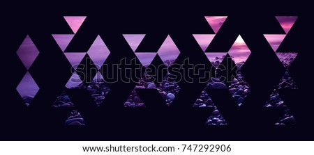 Abstract geometric background, pink and purple beach sunset triangles composition isolated on black wallpaper. #747292906