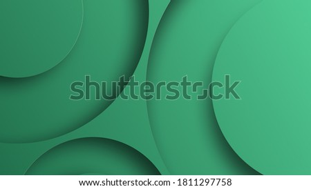 Abstract geometric background with green gradient vanishing circles.Contemporary material design with realistic shadow over flat gradient background.3d render