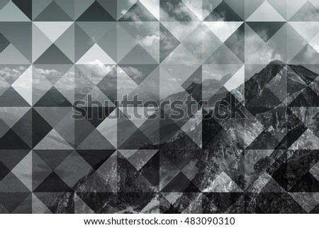 abstract geometric background with polygons, mountains and cumulus clouds, polygonal cloudscape backdrop, op art, altitude. reality is an illusion #483090310