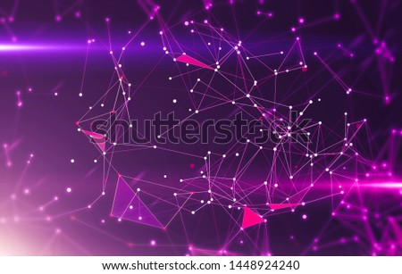 Abstract geometric background with triangular cells for design. Bright violet digital illustration with polygons on a dark background.