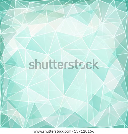 Abstract geometric background with triangular polygons in mint color. Raster version.
