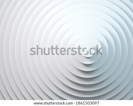 Abstract geometric background with white concentric circles installation, 3d rendering illustration  Photo stock ©