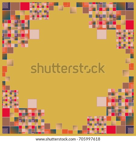 Abstract geometric colored frame from cube elements.