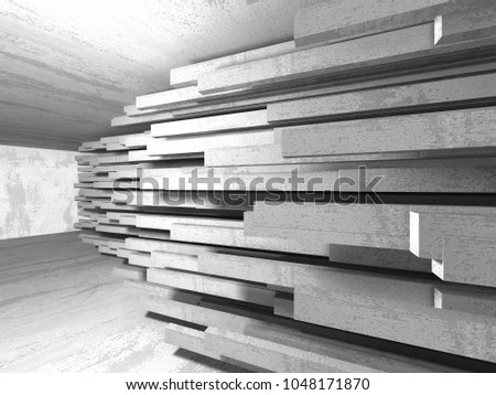 Abstract geometric concrete architecture background. 3d render illustration #1048171870