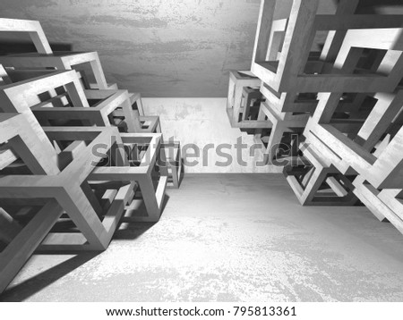 Abstract geometric concrete architecture background. 3d render illustration - Shutterstock ID 795813361