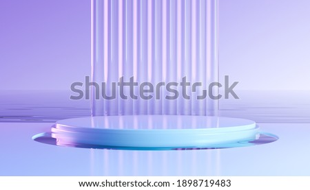 Abstract geometric 3d render with round podium. Modern illustration for product promotion, showcase banner. Wavy glass wall and water in minimal style. Neon light backround with empty space.
